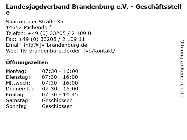 Landesjagdverband Brandenburg e.V. in Michendorf: Adresse und Öffnungszeiten