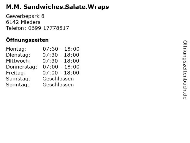 M.M. Sandwiches.Salate.Wraps in Mieders: Adresse und Öffnungszeiten