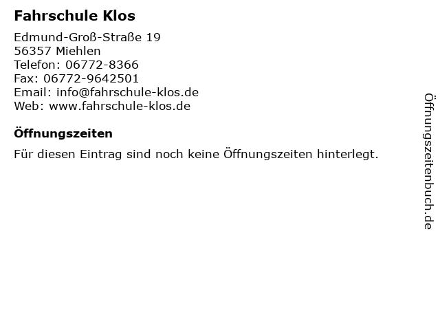 Fahrschule Klos in Miehlen: Adresse und Öffnungszeiten
