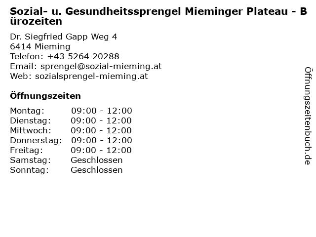 Sozial- u. Gesundheitssprengel Mieminger Plateau - Bürozeiten in Mieming: Adresse und Öffnungszeiten