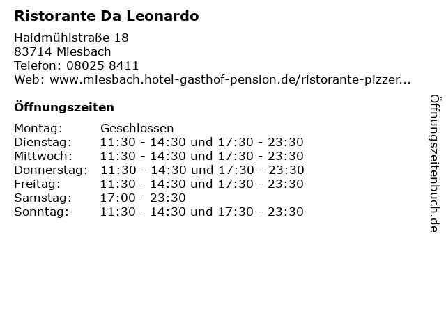 Ristorante Da Leonardo in Miesbach: Adresse und Öffnungszeiten
