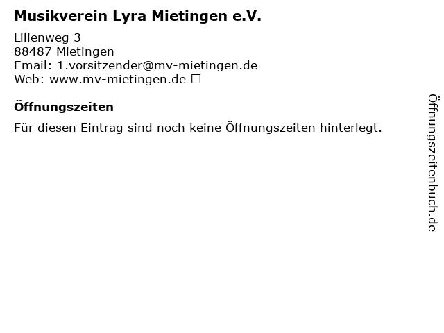 Musikverein Lyra Mietingen e.V. in Mietingen: Adresse und Öffnungszeiten