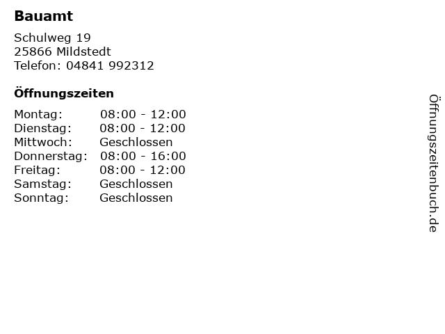 Bauamt in Mildstedt: Adresse und Öffnungszeiten