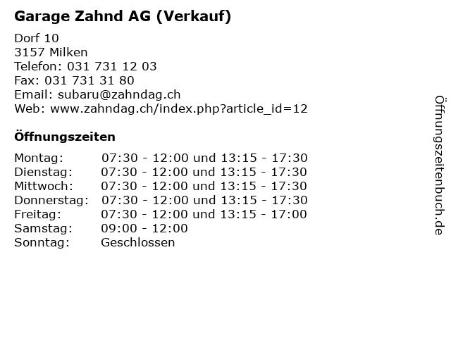 Garage Zahnd AG (Verkauf) in Milken: Adresse und Öffnungszeiten
