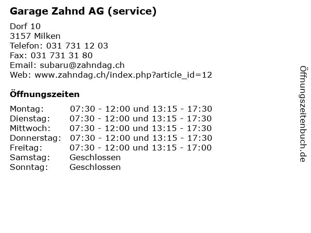 Garage Zahnd AG (service) in Milken: Adresse und Öffnungszeiten