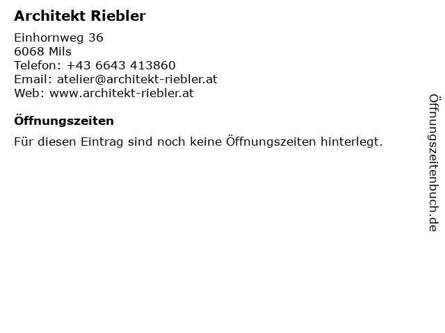 Architekt Riebler in Mils: Adresse und Öffnungszeiten