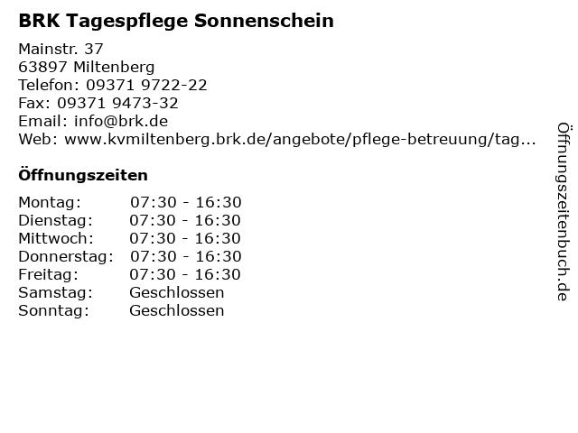 BRK Tagespflege Sonnenschein in Miltenberg: Adresse und Öffnungszeiten
