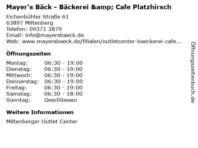 Mayer's Bäck - Bäckerei & Cafe Platzhirsch in Miltenberg: Adresse und Öffnungszeiten