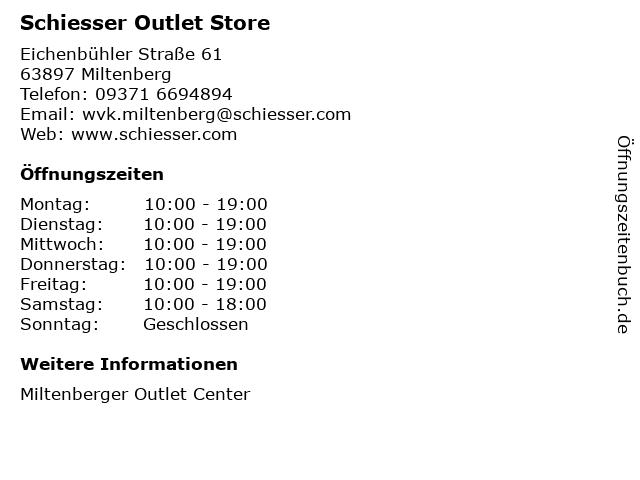 Schiesser Outlet Store in Miltenberg: Adresse und Öffnungszeiten