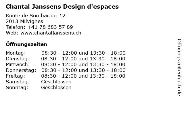 Chantal Janssens Design d'espaces in Milvignes: Adresse und Öffnungszeiten