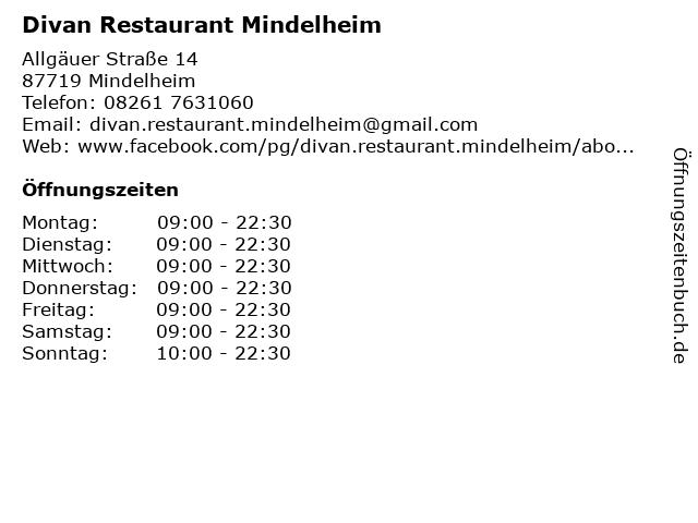 Divan Restaurant Mindelheim in Mindelheim: Adresse und Öffnungszeiten