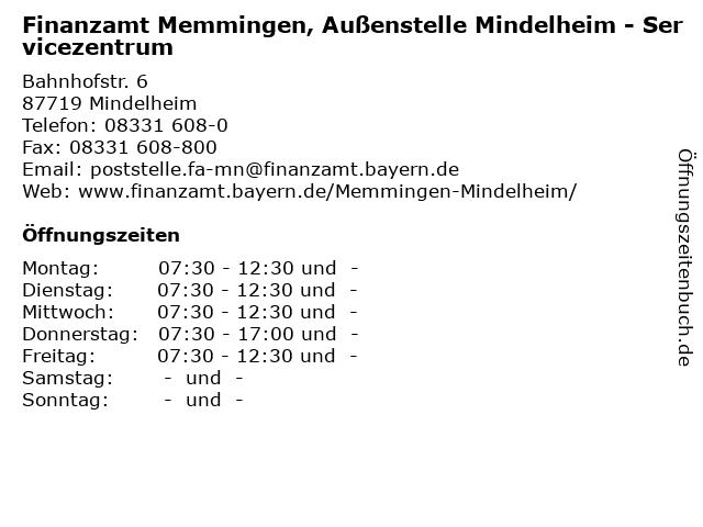 Á… Offnungszeiten Finanzamt Memmingen Aussenstelle Mindelheim Servicezentrum Bahnhofstr 6 In Mindelheim