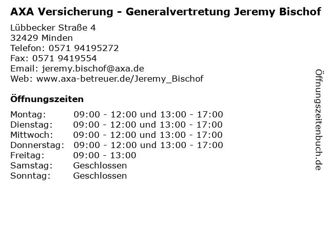 AXA Versicherung - Generalvertretung Jeremy Bischof in Minden: Adresse und Öffnungszeiten