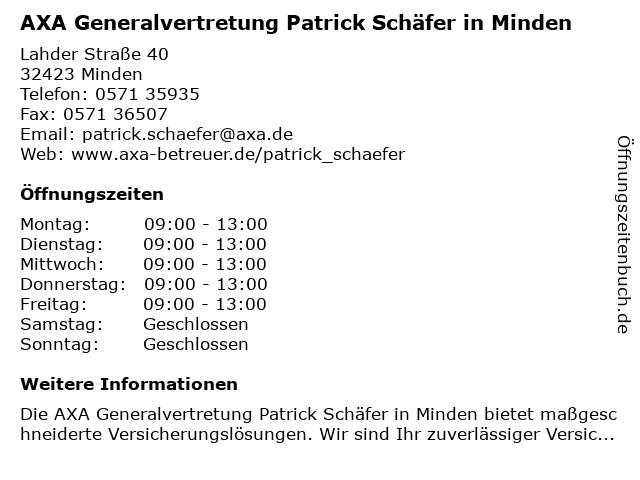 AXA Versicherung - Hauptvertretung Patrick Schaefer in Minden: Adresse und Öffnungszeiten