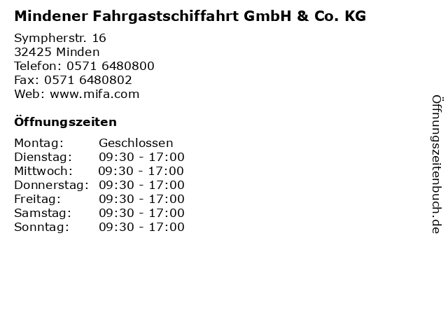 Mindener Fahrgastschiffahrt GmbH & Co. KG in Minden: Adresse und Öffnungszeiten