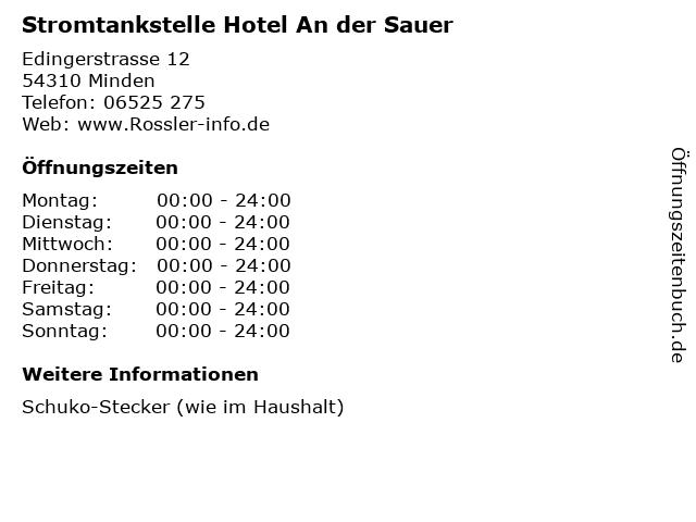 Stromtankstelle Hotel An der Sauer in Minden: Adresse und Öffnungszeiten