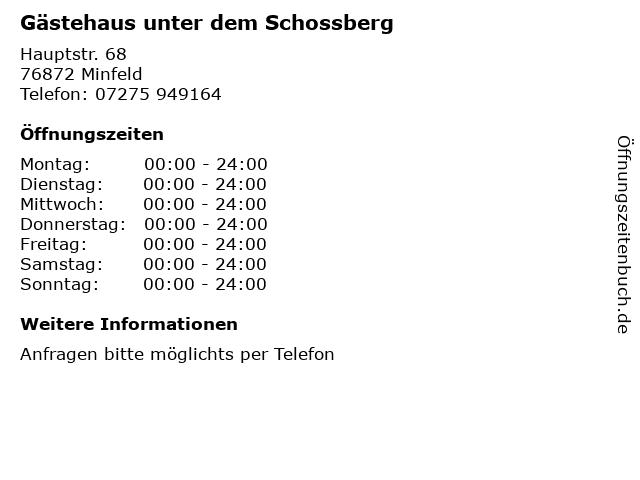 Gästehaus unter dem Schossberg in Minfeld: Adresse und Öffnungszeiten