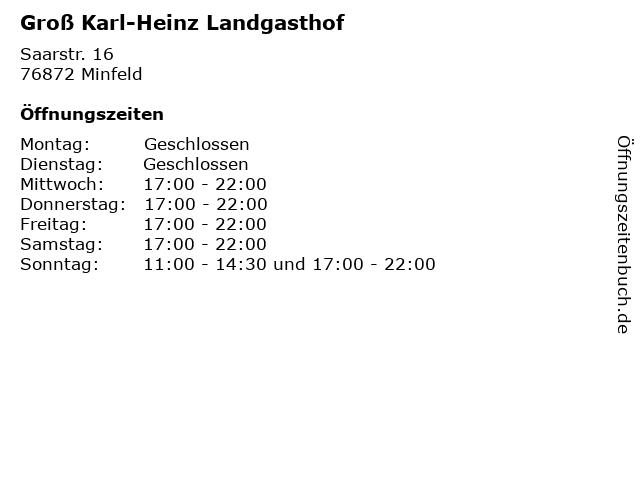 Groß Karl-Heinz Landgasthof in Minfeld: Adresse und Öffnungszeiten