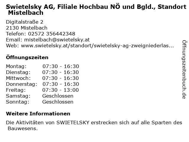 Swietelsky AG, Filiale Hochbau NÖ und Bgld., Standort Mistelbach in Mistelbach: Adresse und Öffnungszeiten