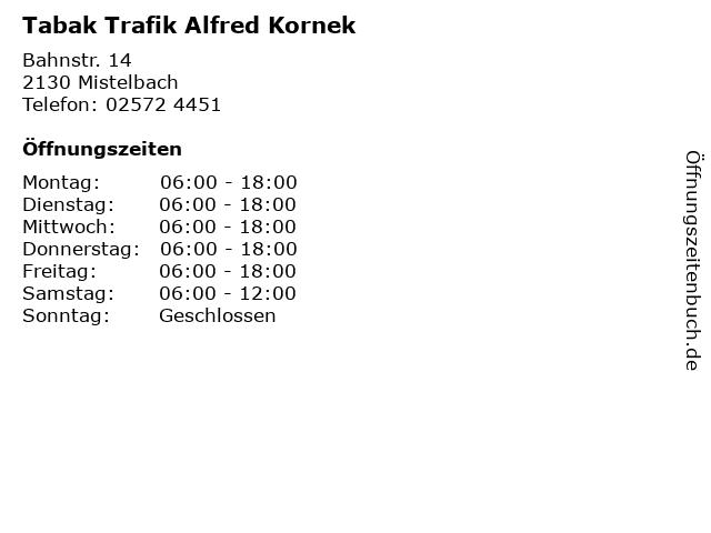 Tabak Trafik Alfred Kornek in Mistelbach: Adresse und Öffnungszeiten