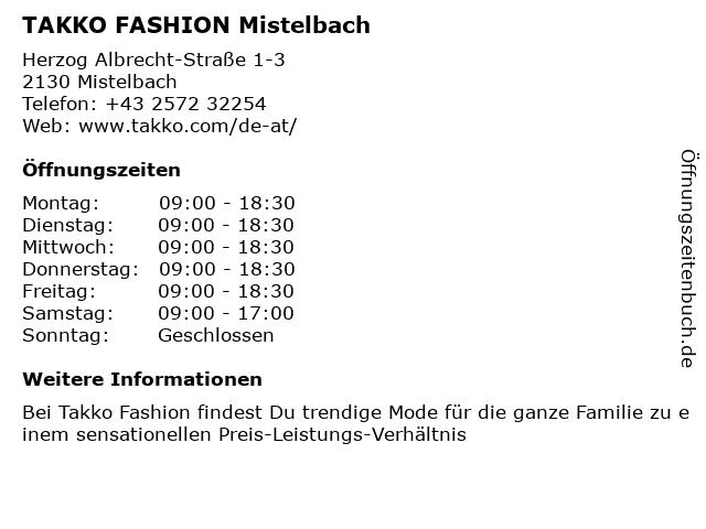 Takko Fashion in Mistelbach: Adresse und Öffnungszeiten