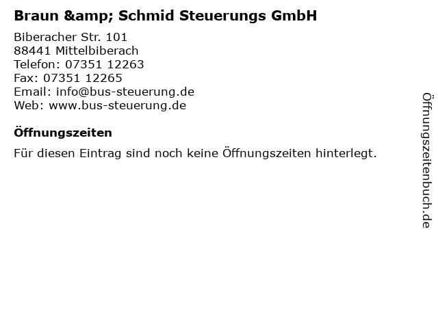 Braun & Schmid Steuerungs GmbH in Mittelbiberach: Adresse und Öffnungszeiten