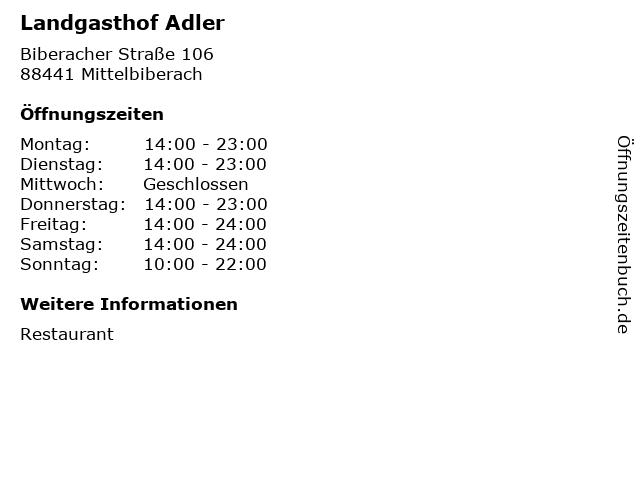 Landgasthof Adler in Mittelbiberach: Adresse und Öffnungszeiten
