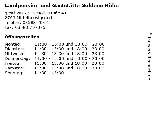 Landpension und Gaststätte Goldene Höhe in Mittelherwigsdorf: Adresse und Öffnungszeiten