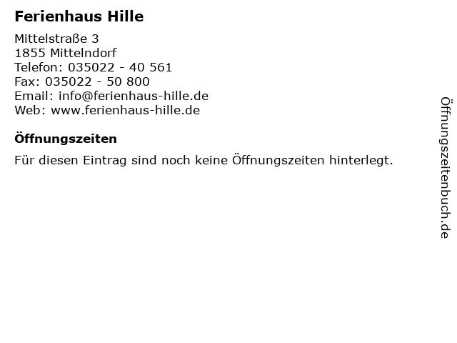 Ferienhaus Hille in Mittelndorf: Adresse und Öffnungszeiten