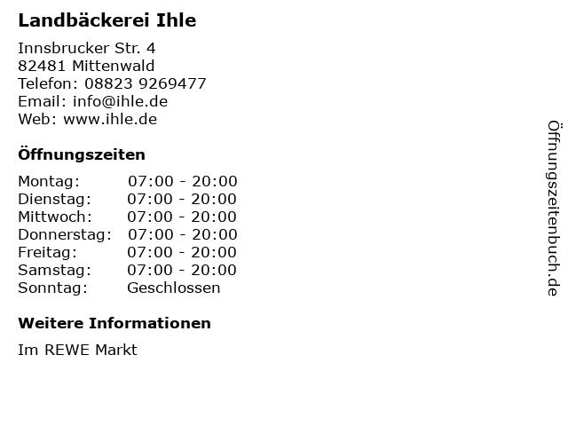 Bäcker-Snack im Rewe in Mittenwald: Adresse und Öffnungszeiten