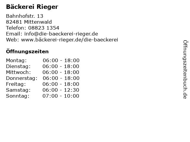 Jörg Rieger, Karin Bäckerei in Mittenwald: Adresse und Öffnungszeiten