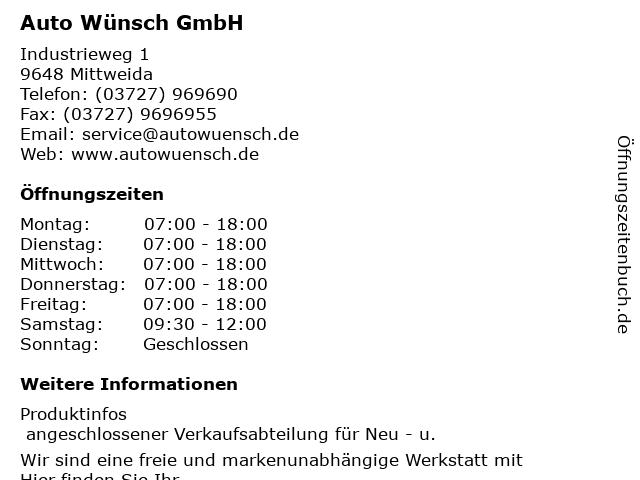 Auto Wünsch GmbH in Mittweida: Adresse und Öffnungszeiten