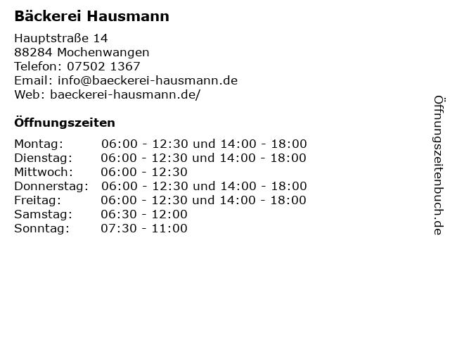 Bäckerei Hausmann in Mochenwangen: Adresse und Öffnungszeiten