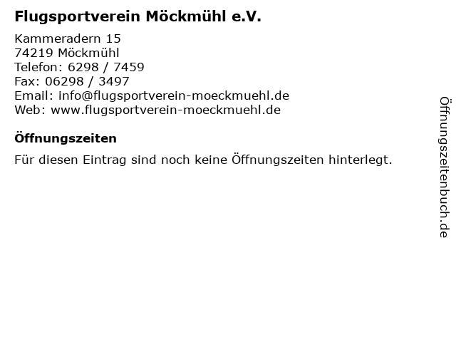 Flugsportverein Möckmühl e.V. in Möckmühl: Adresse und Öffnungszeiten