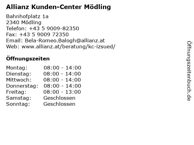 Allianz Kunden-Center Mödling in Mödling: Adresse und Öffnungszeiten
