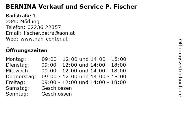 BERNINA Verkauf und Service P. Fischer in Mödling: Adresse und Öffnungszeiten
