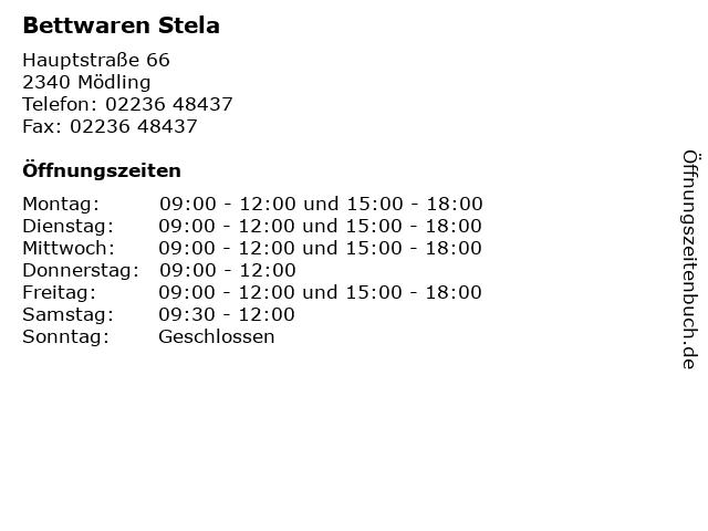 Bettwaren Stela in Mödling: Adresse und Öffnungszeiten