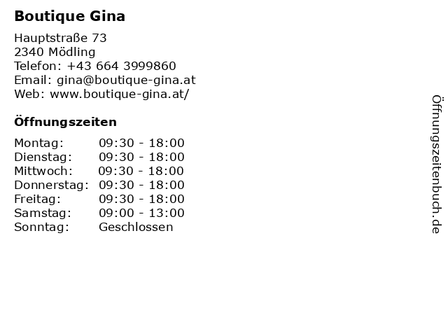 Boutique Gina in Mödling: Adresse und Öffnungszeiten