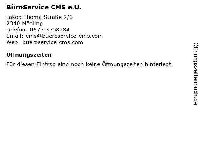 BüroService CMS e.U. in Mödling: Adresse und Öffnungszeiten