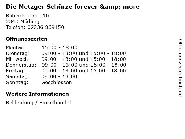 Die Metzger Schürze forever & more in Mödling: Adresse und Öffnungszeiten