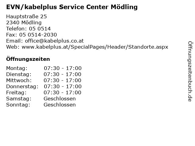 EVN/kabelplus Service Center Mödling in Mödling: Adresse und Öffnungszeiten