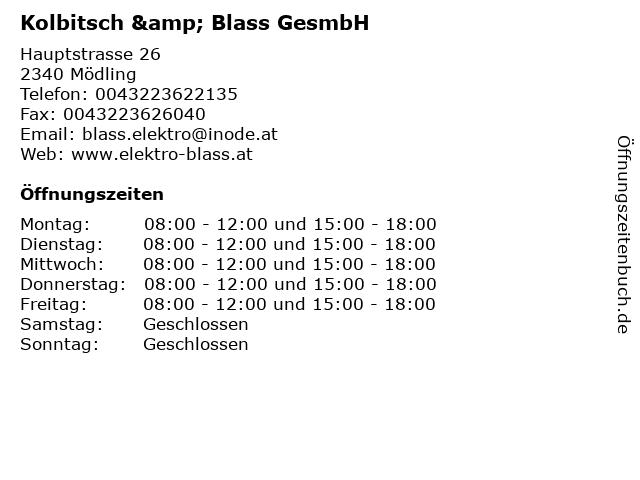 Kolbitsch & Blass GesmbH in Mödling: Adresse und Öffnungszeiten