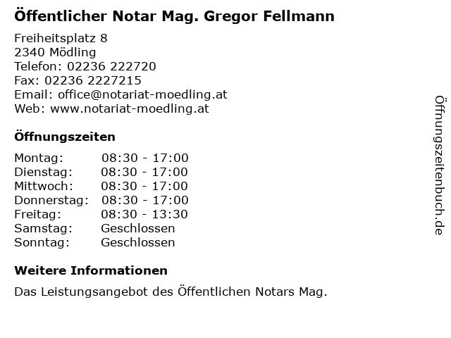 Öffentlicher Notar Mag. Gregor Fellmann in Mödling: Adresse und Öffnungszeiten