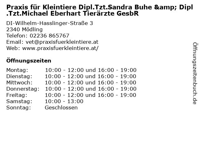 Praxis für Kleintiere Dipl.Tzt.Sandra Buhe & Dipl.Tzt.Michael Eberhart Tierärzte GesbR in Mödling: Adresse und Öffnungszeiten