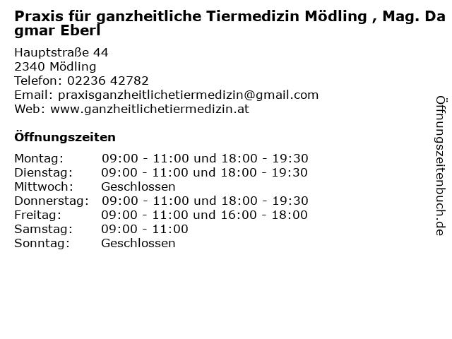 Praxis für ganzheitliche Tiermedizin Mödling , Mag. Dagmar Eberl in Mödling: Adresse und Öffnungszeiten