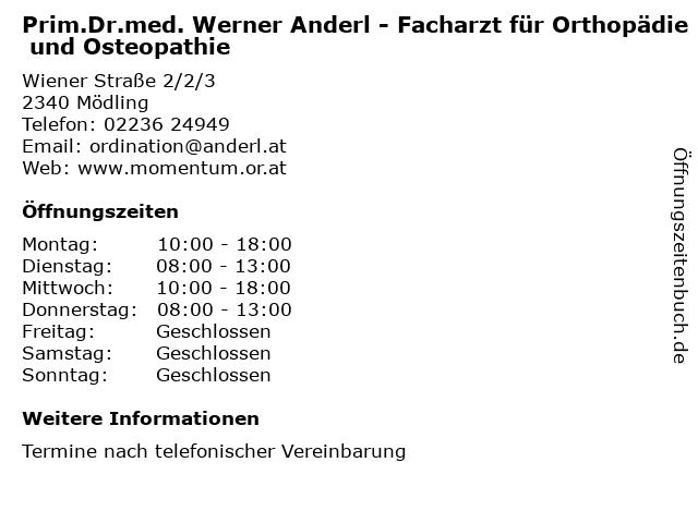 Prim.Dr.med. Werner Anderl - Facharzt für Orthopädie und Osteopathie in Mödling: Adresse und Öffnungszeiten
