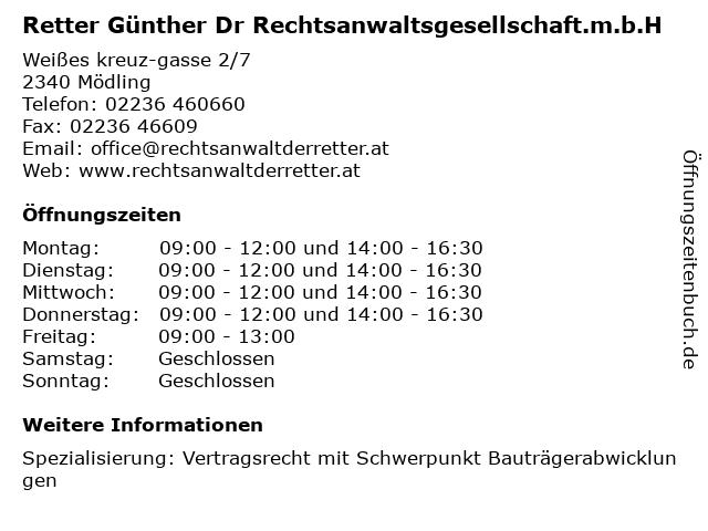 Retter Günther Dr Rechtsanwaltsgesellschaft.m.b.H in Mödling: Adresse und Öffnungszeiten