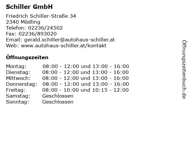 Schiller GmbH in Mödling: Adresse und Öffnungszeiten