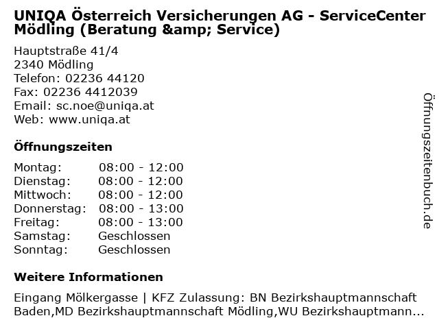 UNIQA Österreich Versicherungen AG - ServiceCenter Mödling (Beratung & Service) in Mödling: Adresse und Öffnungszeiten