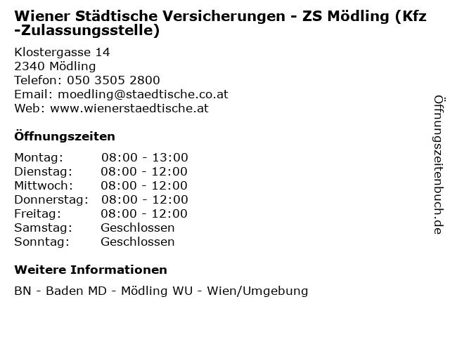 Wiener Städtische Versicherungen - ZS Mödling (Kfz-Zulassungsstelle) in Mödling: Adresse und Öffnungszeiten
